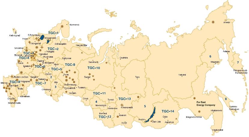 Uppdelning i TGC-bolag i Ryssland